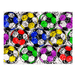 SOCCER BALLS IN CHAOTIC COLOR POSTCARD