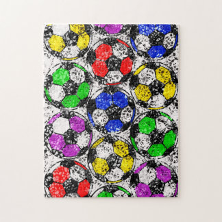 SOCCER BALLS IN CHAOTIC COLOR JIGSAW PUZZLE