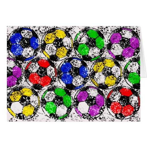 SOCCER BALLS IN CHAOTIC COLOR STATIONERY NOTE CARD