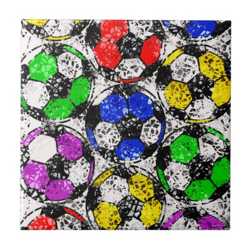 SOCCER BALLS IN CHAOTIC COLOR TILES