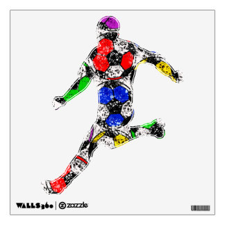 SOCCER BALLS IN CHAOTIC COLOR Wall Decal
