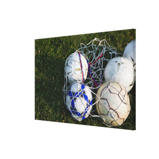 Soccer balls in net stretched canvas print