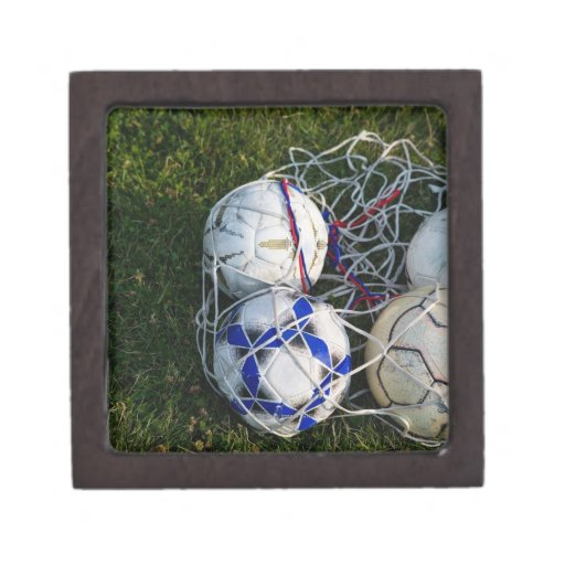Soccer balls in net keepsake box