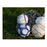 Soccer balls in net postcard