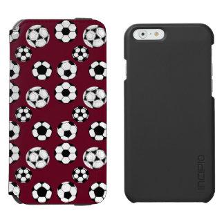 Soccer balls masculine burgundy iPhone 6/6s wallet case
