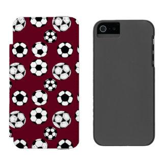 Soccer balls masculine burgundy wallet case for iPhone SE/5/5s