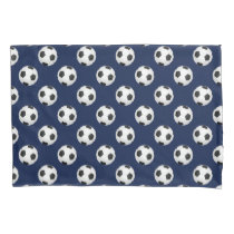 Soccer Balls Navy Blue Pillow Case