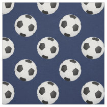 Soccer balls on blue, pattern fabric