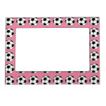 Soccer Balls on Pink Magnetic Picture Frame