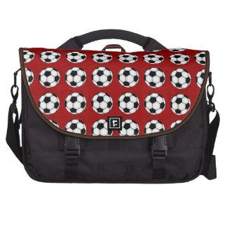 Soccer Balls On Red Bag For Laptop