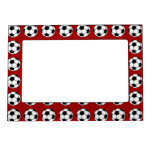 Soccer Balls On Red Magnetic Picture Frame