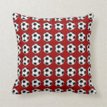 Soccer Balls On Red Throw Pillow