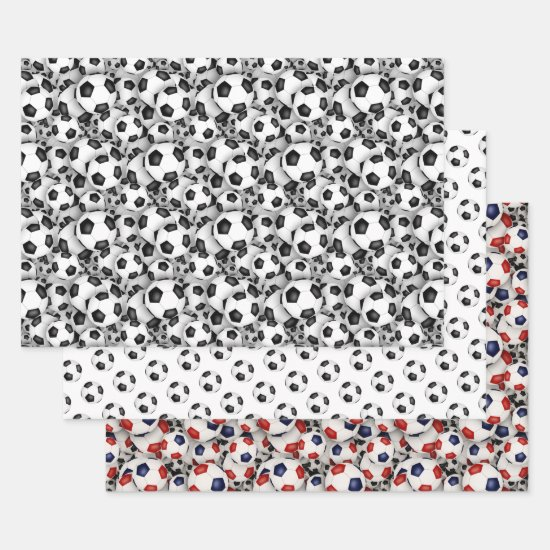 soccer balls pattern any occasion wrapping paper sheets