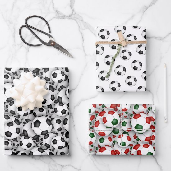 soccer balls pattern Christmas or any occasion Wrapping Paper Sheets