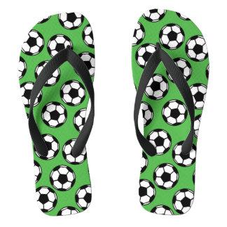 Soccer Balls Pattern Flip Flops