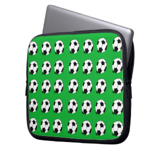 Soccer Balls Pattern Green Laptop Sleeve