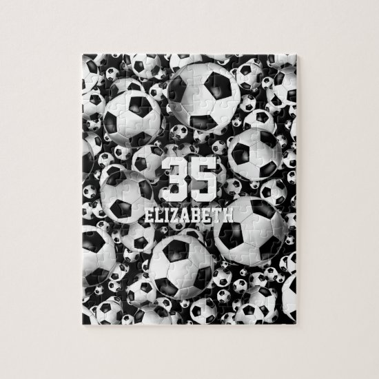 Soccer balls pattern puzzle for girls or boys
