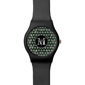 Soccer balls pattern wrist watch