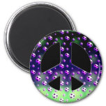 SOCCER BALLS PEACE SIGN 2 INCH ROUND MAGNET