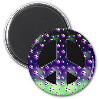 SOCCER BALLS PEACE SIGN FRIDGE MAGNET