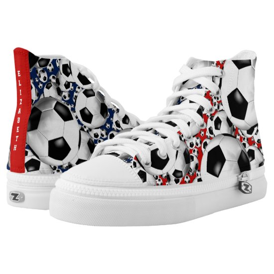 soccer balls red white and blue | choose ANY color High-Top Sneakers
