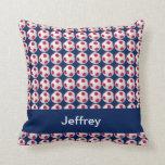 """Soccer Balls, Red, White & Blue, 16"""" Square Pillow"""