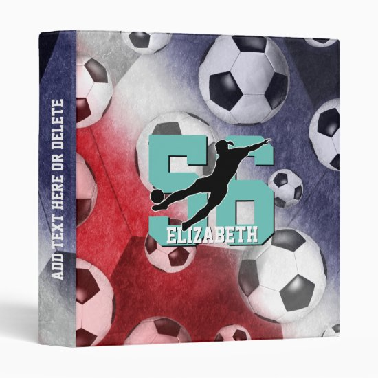 Soccer balls red white blue girl silhouette binder