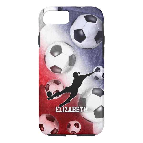 Soccer balls red white blue girl silhouette iPhone 7 case