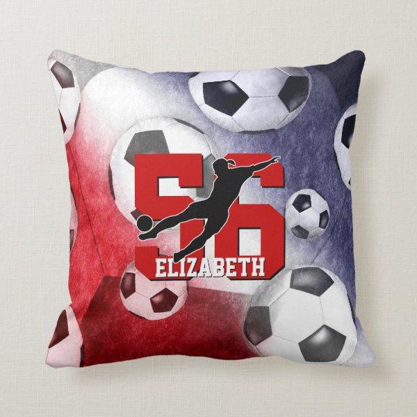 Soccer balls red white blue girl silhouette throw pillow