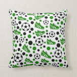 Soccer Balls, Shoes, Polka Dots Throw Pillow