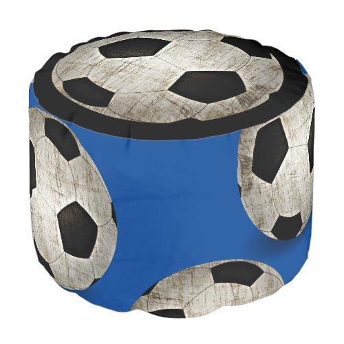 Soccer Balls Sport Blue Black White Kids Pouf