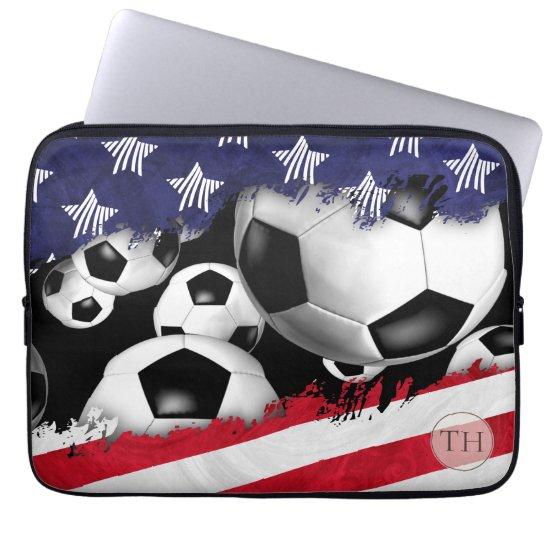 soccer balls torn USA flag men's monogrammed Laptop Sleeve