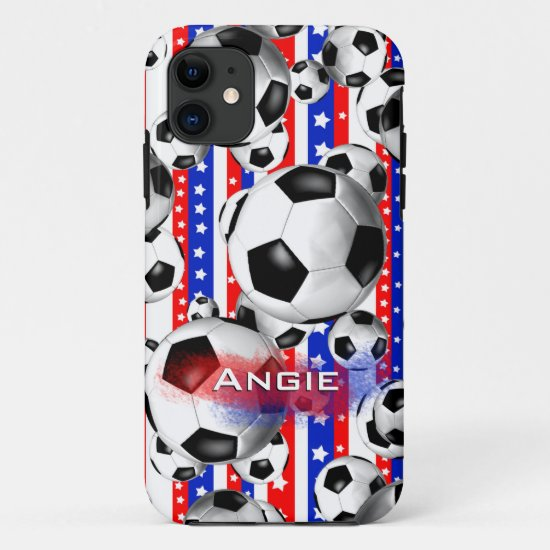 Soccer Balls USA Red White Blue Stars and Stripes iPhone 11 Case