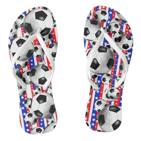Soccer Balls USA Red White Blue Stars and Stripes Flip Flops