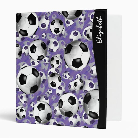 Soccer Ballz Girl's soccer pattern 3 Ring Binder