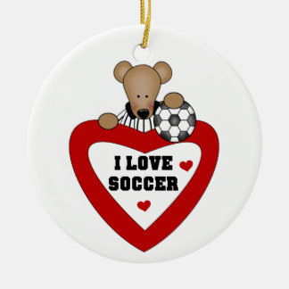 Soccer Bear T-shirts and Gifts Double-Sided Ceramic Round Christmas Ornament