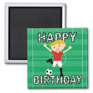 Soccer Birthday Boy 1 Red and White 2 Inch Square Magnet