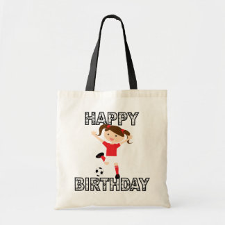Soccer Birthday Girl 1 Red and White Canvas Bags
