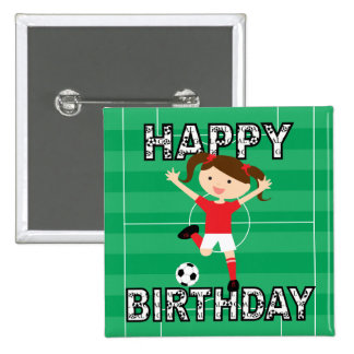Soccer Birthday Girl 1 Red and White Pinback Button