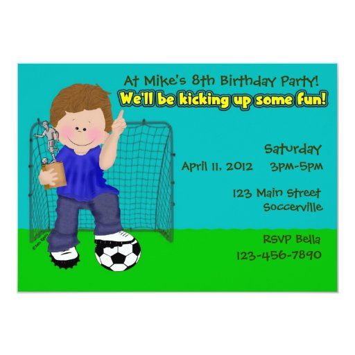 Soccer Birthday Party 5x7 Paper Invitation Card