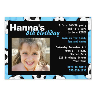 Soccer Birthday Party Invitation Blue