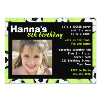 Soccer Birthday Party Invitation Green