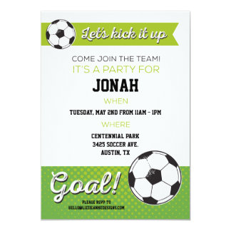 soccer birthday party invite 5x7 boy - Soccer Party Invitations