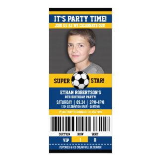 Soccer Birthday Photo Template 4x9.25 Paper Invitation Card