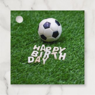 Soccer Birthday with football on green grass Favor Tags