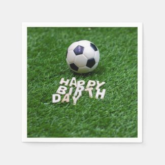 Soccer Birthday with football on green grass Napkins