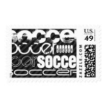 Soccer; Black & Dark Gray Stripes Postage