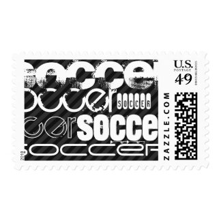 Soccer; Black & Dark Gray Stripes Postage