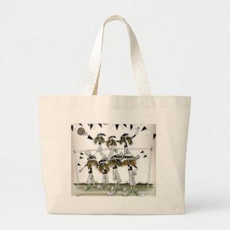 soccer black + white kit defenders large tote bag
