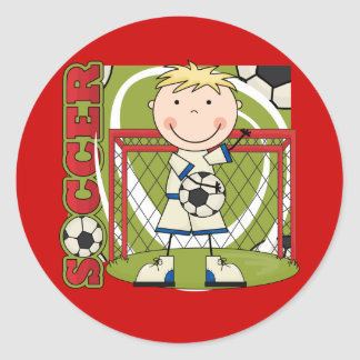SOCCER - Blond Boy Goalie Tshirts and Gifts Classic Round Sticker